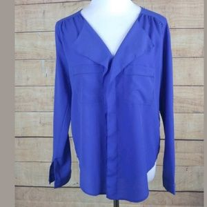 NWT Alythea midnight blue drapey blouse